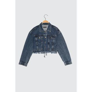 Trendyol Crop Denim Jacket WITH Blue Back Rubber dámské Navy XS