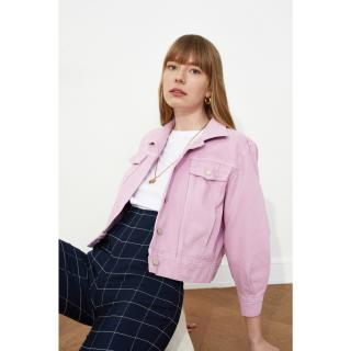 Trendyol Crop Denim Jacket WITH Lila Pocket Detail dámské Lilac XS