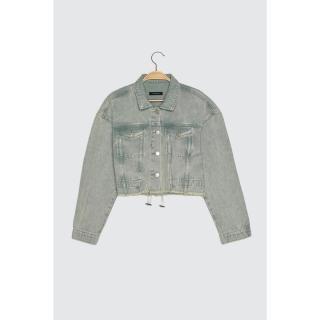 Trendyol Crop Denim Jacket WITH Mint Back Rubber dámské XS