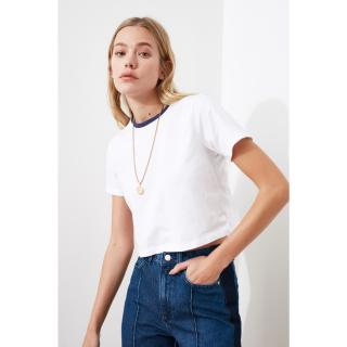 Trendyol Crop Knitted T-Shirt WITH White Collar dámské XS