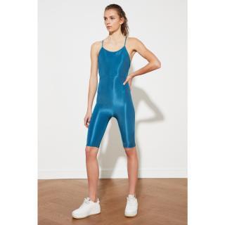 Trendyol Dark Green Lurex Strap Sports Jumpsuit dámské KOYU YEŞİL XS