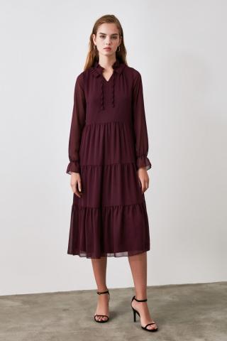 Trendyol Discreupt Collar Detailed Dress dámské Plum 34