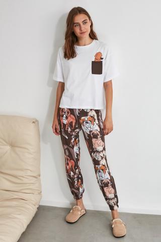 Trendyol Dog Printed Knitted Pyjamas Kit dámské Multi XS