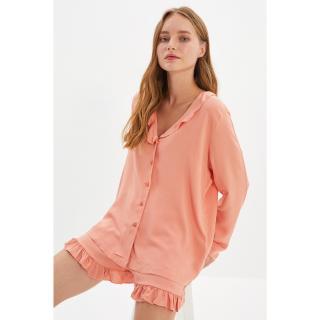 Trendyol Dried Rose Ruffle Detailed Woven Viscose Pajamas Set dámské Other 34