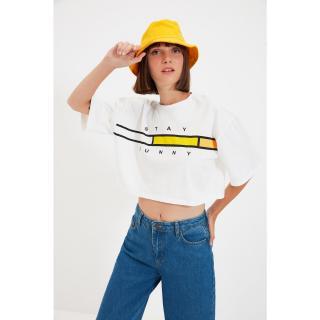 Trendyol Ecru Printed Crop Knitted T-Shirt dámské Other L