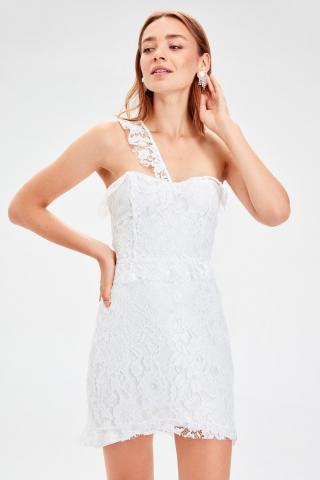 Trendyol Ecru Shoulder Ribbon Detailed Lace Dress dámské 38