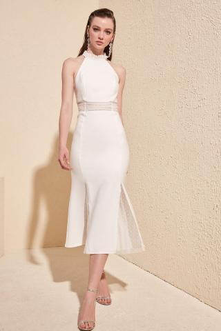 Trendyol Ekru Accessory Detailed Dress dámské Ecru 34