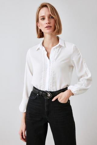 Trendyol Ekru Accessory Detailed Shirt dámské Ecru 34