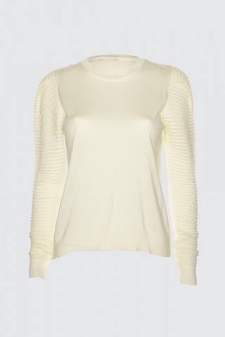 Trendyol Ekru Arm Knitted Detailed Knitwear Sweater dámské Ecru M