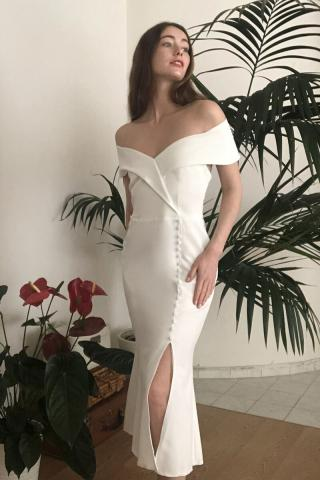 Trendyol Ekru Button Detailed Dress dámské Ecru 34