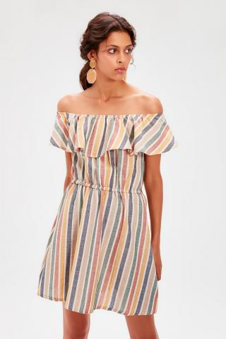 Trendyol Ekru Carmen Collar Striped Dress dámské Ecru 36