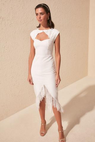 Trendyol Ekru Collar Detailed Dress dámské Ecru 34
