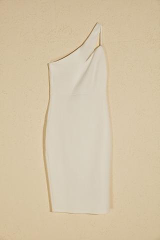 Trendyol Ekru Collar Detailed Dress dámské Ecru 38