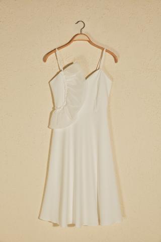Trendyol Ekru Collar Detailed Dress dámské Ecru 42