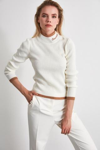 Trendyol Ekru Embroidery Detailed Knitwear Sweater dámské Ecru M