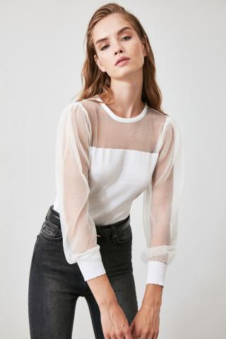 Trendyol Ekru Frize Detailed Knitwear Sweater dámské Ecru M