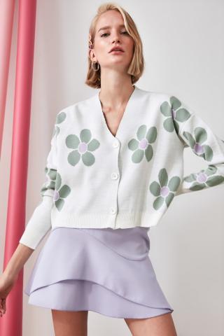 Trendyol Ekru Jacquard Knitwear Cardigan dámské Ecru M