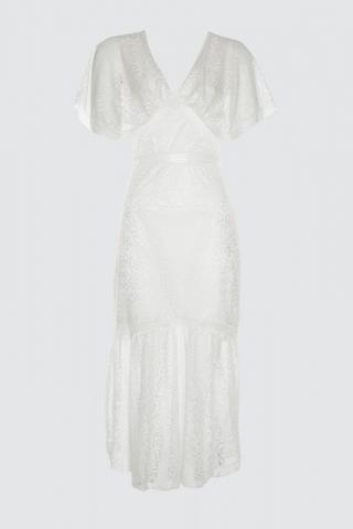 Trendyol Ekru Lace Accessory Detailed Dress dámské Ecru 34