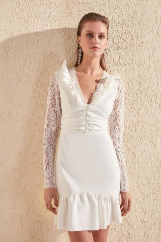 Trendyol Ekru Lace Detailed Dress dámské Ecru 34