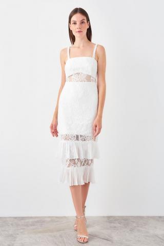 Trendyol Ekru Lace Detailed Dress dámské Ecru 40