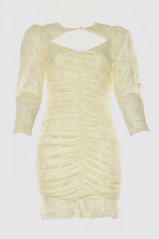 Trendyol Ekru Lace Detailed Dress dámské Ecru 42