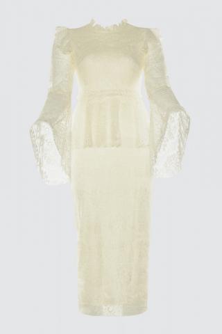 Trendyol Ekru Lace Dress dámské Ecru 34
