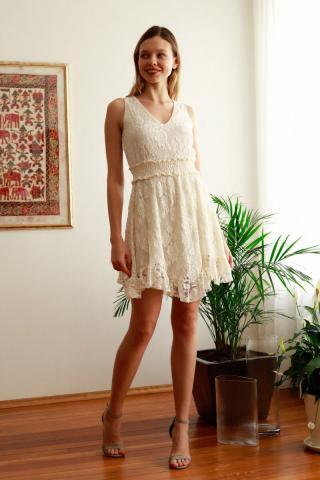 Trendyol Ekru Lace Dress dámské Ecru 38