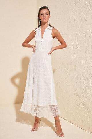 Trendyol Ekru Lace Dress dámské Ecru 42
