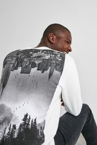 Trendyol Ekru Mens Back Printed Sweatshirt pánské Ecru S