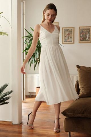Trendyol Ekru Pearl Detailed Dress dámské Ecru 40