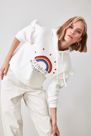 Trendyol Ekru Printed Hooded Sweatshirt dámské Ecru XS