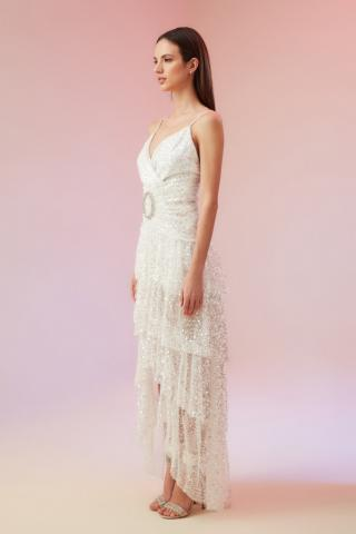 Trendyol Ekru Sequined Stone Accessory Wedding Dress dámské Ecru 36