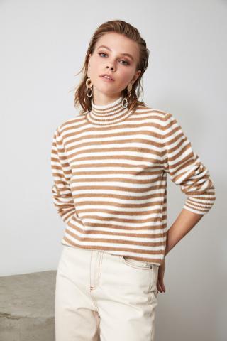 Trendyol Ekru Striped KnitWear Sweater dámské Ecru M