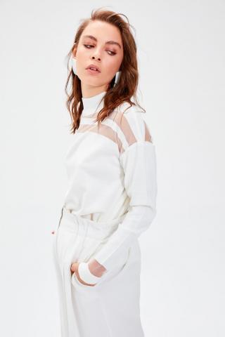 Trendyol Ekru Tulle Detailed Knitwear Sweater dámské Ecru S