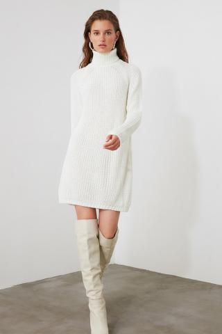Trendyol Ekru Turtleneck Knit Sweater Dress dámské Ecru S