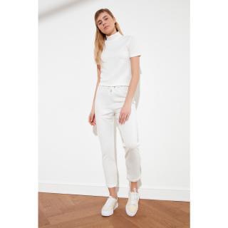 Trendyol Ekru Upright Collar Scuba Knitted Bottom-Top Suit dámské Ecru S
