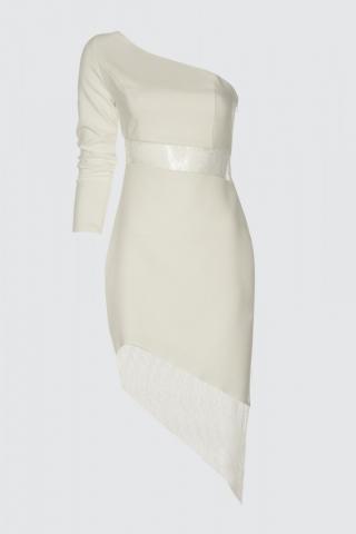 Trendyol Ekru Waist Detailed Dress dámské Ecru 40