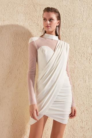 Trendyol Ekru Wattle Dress dámské Ecru 42