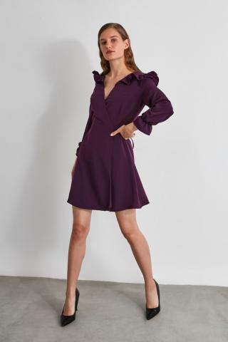 Trendyol Elderberry Shoulder Detailed Dress dámské Plum 34