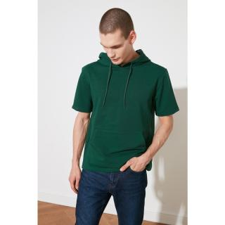 Trendyol Emerald Green Mens Regular Fit Hooded Short Sleeve Sweatshirt pánské Zümrüt Yeşili S