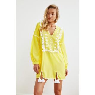 Trendyol Ethnic Vual Beach Dress with Yellow Tassel dámské 34
