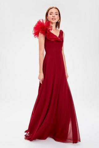 Trendyol Evening Dress With Burgundy Collar Accessory dámské 34