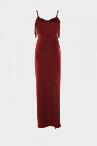 Trendyol Evening Dress with Burgundy Tassel Detailed Slit & Graduation Dress dámské 38