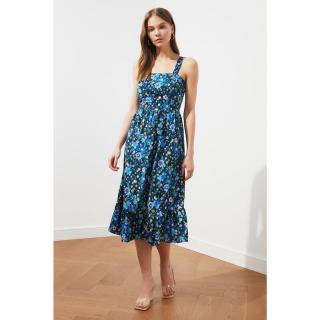 Trendyol Floral Patterned Dress WITH Navy Blue Straps dámské 34