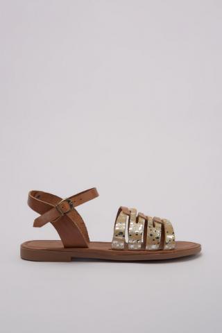 Trendyol Genuine Leather Beige Bright Detailed Women Sandals dámské 37