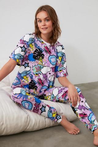 Trendyol Graphic Printed Knitted Pajama Set dámské Multi S