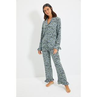 Trendyol Gray Animal Pattern Viscose Woven Pajamas Set dámské Other 40