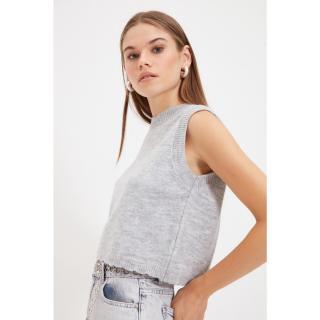 Trendyol Gray Crew Neck Knitwear Sweater dámské Other S