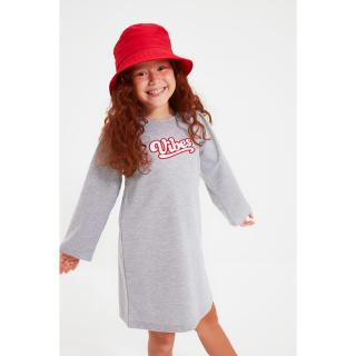 Trendyol Gray Embroidered Girl Knitted Dress dámské Other 6-7 Y