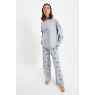Trendyol Gray Knitted Pajamas Set dámské Other XL